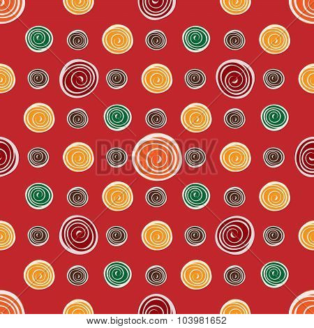 Red Flower Yellow Green Circles On Red Seamless Pattern Backgrou