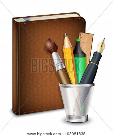 Sketchbook With Pen Pencil Brush And Highlighter In The Holder. Vector Illustration