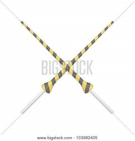 Two crossed lances in orange and black design