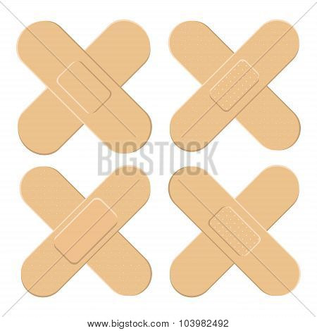 Set Of Adhesive, Flexible, Fabric Plaster . Medical Bandage In Different Shape - Straigh Cross. Vect