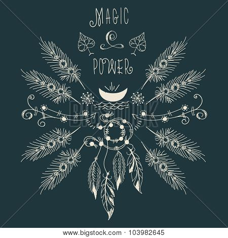 Hipster ethnic boho label with feathers and moon
