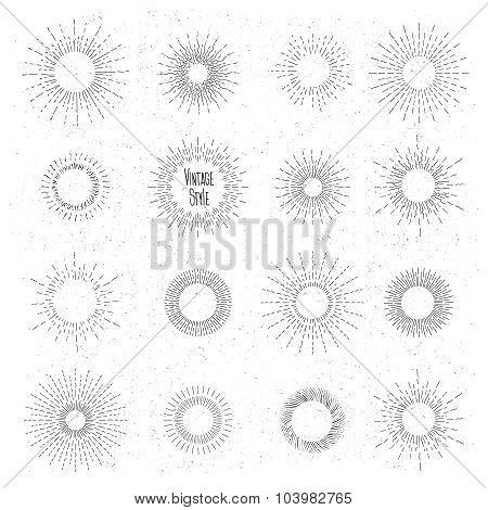 Retro hand drawn sunburst set. Sun ray frames in vintage hipster style