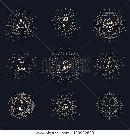 Vintage sunburst hipster logo elements