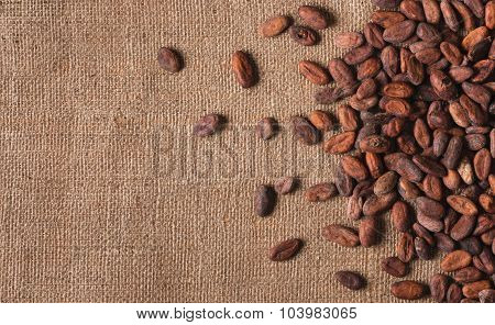 Raw Cocoa Beans On  Sacking Top View, Close-up