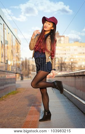 Asian woman outdoors in the city