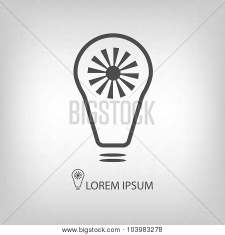 Grey bulb with sun as eco energy symbol