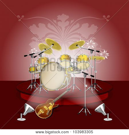 drum kit on the pedestal with lighting