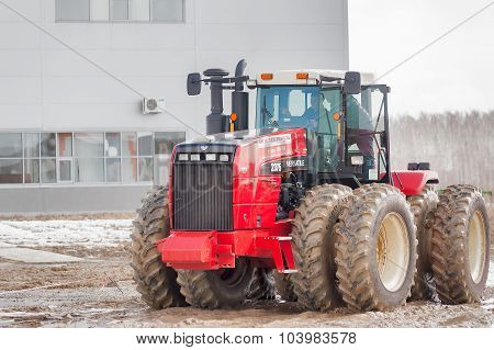 Test-drive of tractor on special dirt range