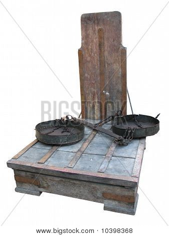 Antique Rusty Big Weight Scales Isolated Over White