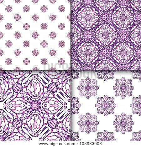 Set Of Patterns With Decorative Symmetric Oriental Ornaments