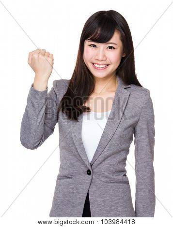 Businesswoman with cheer up gesture