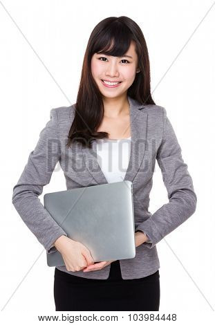 Young businesswoman hold with laptop cmputer