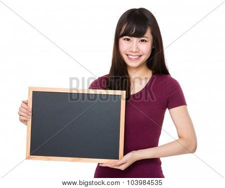 Woman showing with the chalkboard
