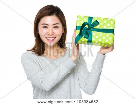 Woman hold with present box