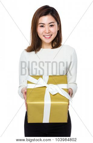 Woman showing the gift box
