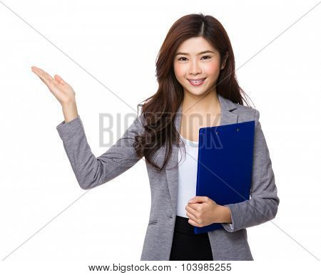 Asian businesswoman hold with clipboard and open hand palm