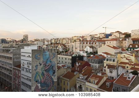 View From The Top Of Downtown Lisbon