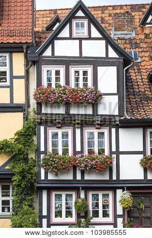 Renovated half-timbered house in Quedlinburg town, Germany