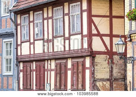 Facade of a half-timbered house in Quedlinburg town, Germany