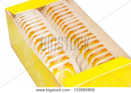 Yellow Pasteboard Box Of Tea Bags