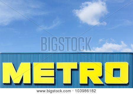 Metro logo on a façade of a supermarket