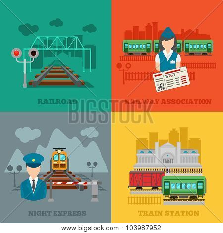 Set of railway flat concepts