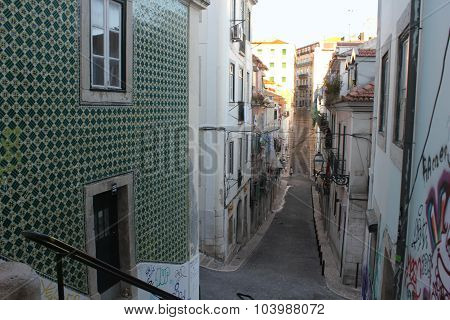 Traditional Narrow Street In Baixa Quartier In Lisbon