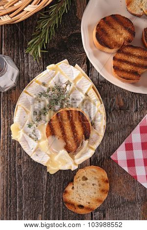 baked camembert and bread