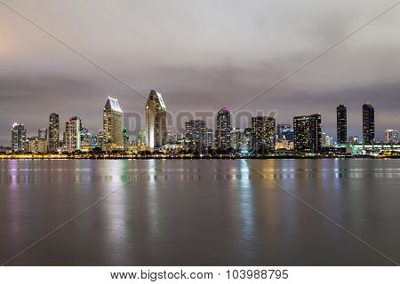 Skyline of San Diego California downtown by night