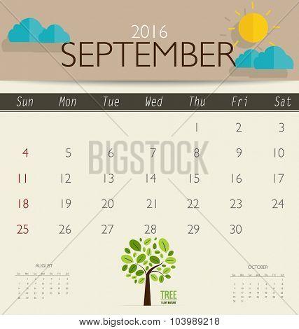 2016 calendar, monthly calendar template for September. Vector illustration.