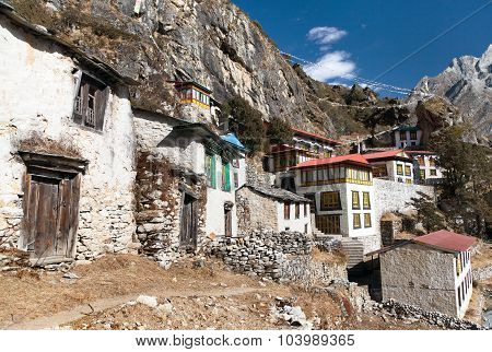 Thame Gompa With Prayer Flags - Monastery In Khumbu
