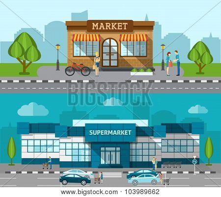 Shop Flat Banner Set