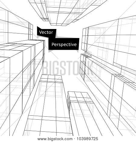 Wireframe of 3d building in perspective. Abstract vector illustration