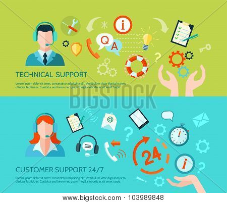 Technical Assistance And Support Banners