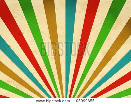 Retro Background With Multicolored Sunbeams