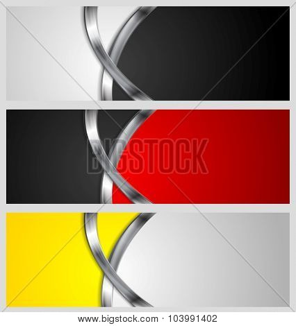 Abstract bright banners with metal waves. Vector design