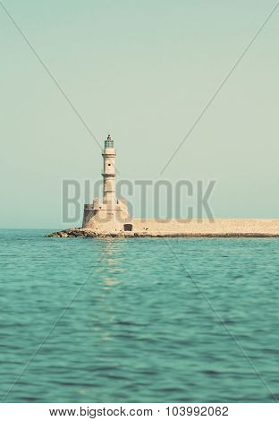 Historical Venetian Lighthouse In Chania, Crete.