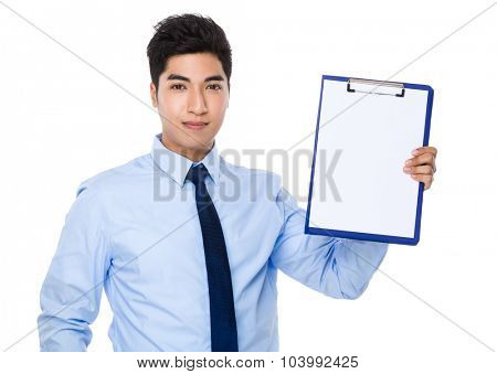 Young businessman show with the clipboard