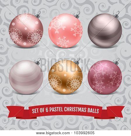 Set of six pastel christmas balls