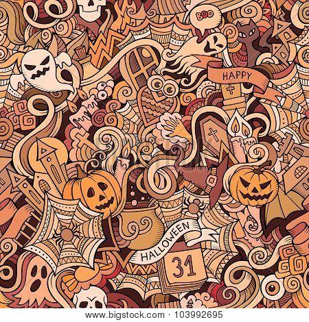 Cartoon vector hand-drawn Doodles on the subject of Halloween