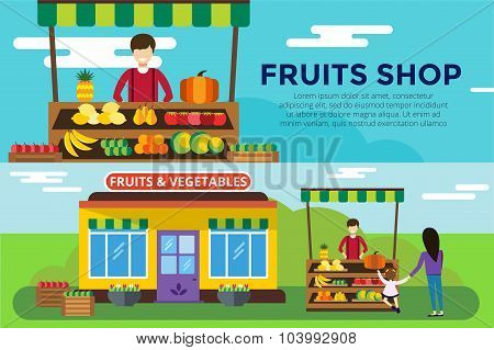 Fruit and vegetables shop counter vector building
