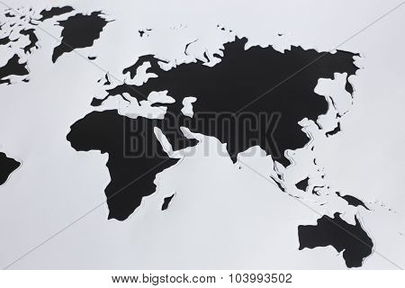 World map. Cut out paper