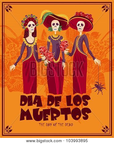 Dia de los muertos Text in Spanish.