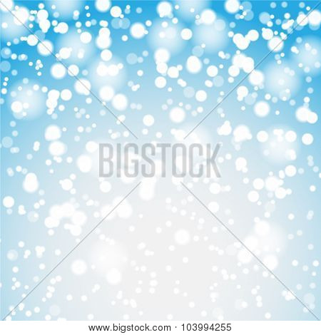 Falling snow and lights on the blue Christmas background. Illustration vector EPS10.