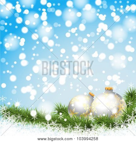 Christmas silver balls on a branch on a background of winter, snow and lights. Illustration vector EPS10.