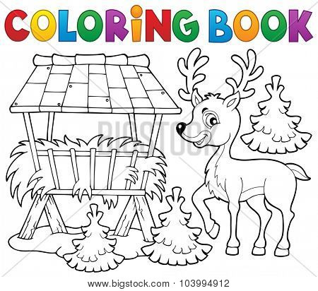 Coloring book deer theme 2 - eps10 vector illustration.