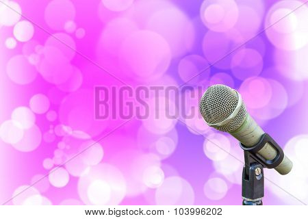 Microphone With Colorful Soft Red Green Blue Pink Abstract Background With Beautiful Glitter Twinkli