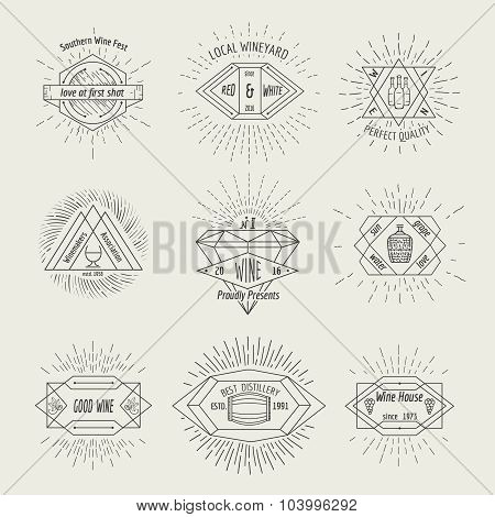 Winemaking and winehouse label or emblem set in hipster style