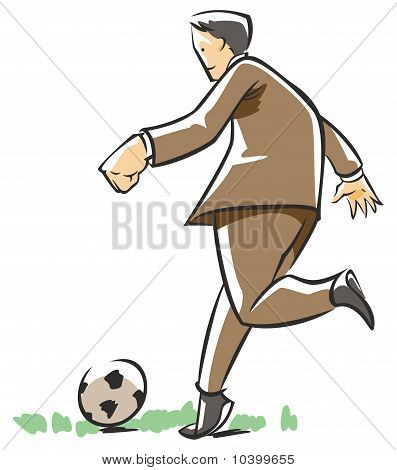Business man playing football