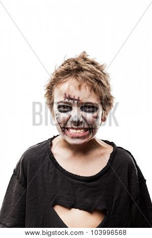 Halloween or horror concept - screaming walking dead zombie child boy reaching hand white isolated